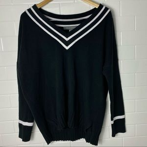 FRENCH CONNECTION V-Neck Black Striped Sweater